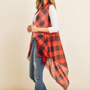 NEW Buffalo Plaid Sleeveless Kimono Cardigan Red